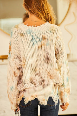 Wherever I Go Sweater in Chocolate/Blue