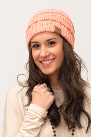 All Winter Long Beanie in Peach