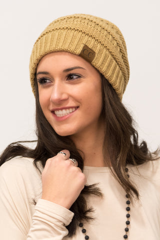 All Winter Long Beanie in Tan