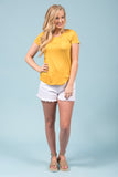 Kellie Pocket Tee (Crew Neck) in Mustard
