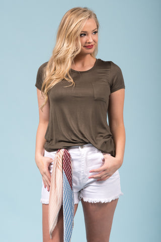Kellie Pocket Tee (Crew Neck) in Forest Olive