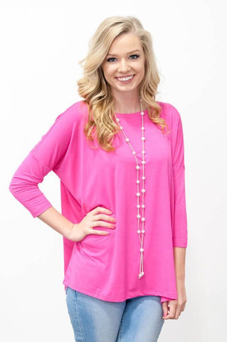 Piko Perfect 3/4 Sleeve Top in French Rose