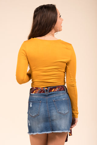 All Twisted Up Top in Rusted Mustard