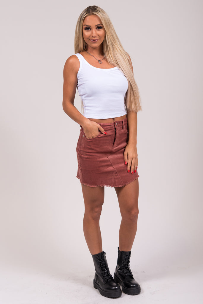 Classic Corduroy Skirt in Mauve