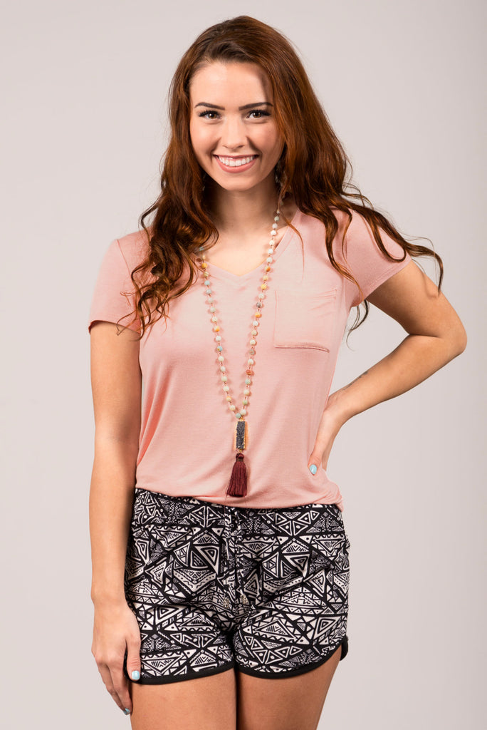 Kellie Pocket Tee (V Neck) in Pink Blossom