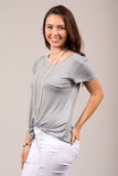 Kellie Pocket Tee (V Neck) in Ice Mint