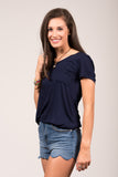 Kellie Pocket Tee (V Neck) in Navy