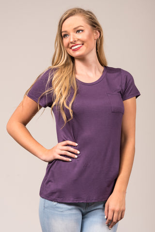 Kellie Pocket Tee (Crew Neck) in Dusty Purple