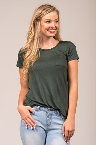 Kellie Pocket Tee (Crew Neck) in Dusk Green