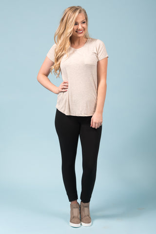 Kellie Pocket Tee (Crew Neck) in Oatmeal