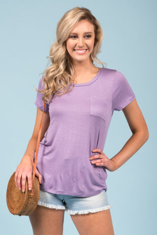 Kellie Pocket Tee (Crew Neck) in Electric Lilac