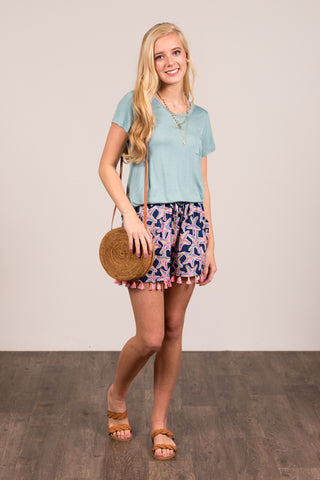 Kellie Pocket Tee (Crew Neck) in Aqua