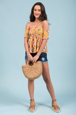 Oceanside Garden Top in Mustard
