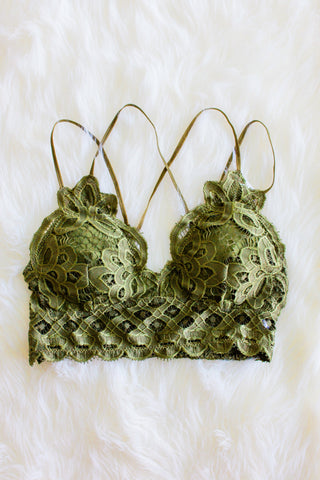 Amazing Lace Bralette in Olive