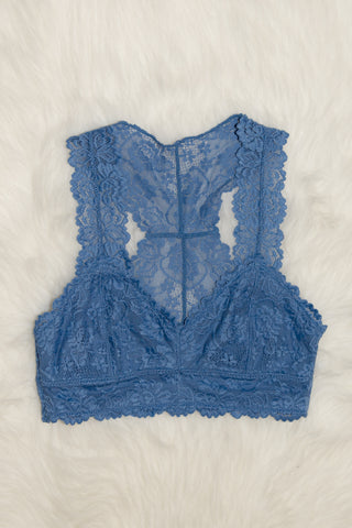 Lace Elegance Bralette in Wild Blue