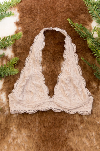 Lovely in Lace Bralette in Light Taupe