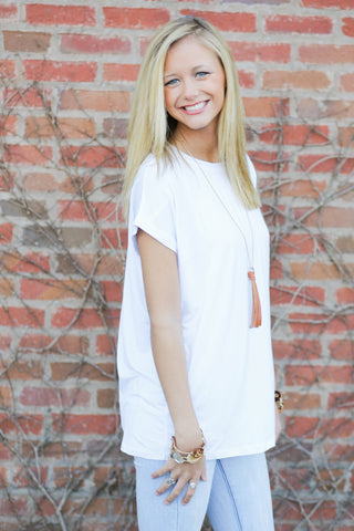 Piko Cap Sleeve in White (Crew Neck)
