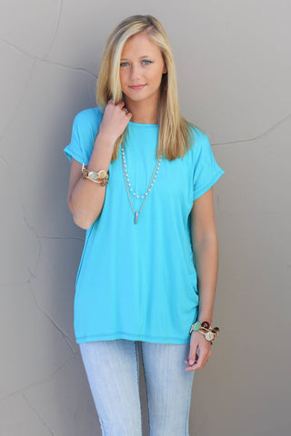 Piko Cap Sleeve in Scuba Blue (Crew Neck)