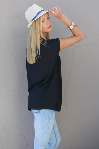 Piko Cap Sleeve in Black (Crew Neck)