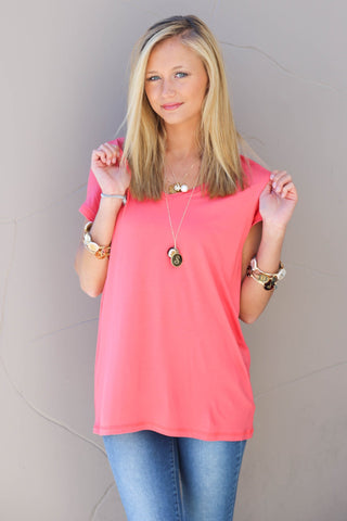 Piko Cap Sleeve in Coral (V-Neck)
