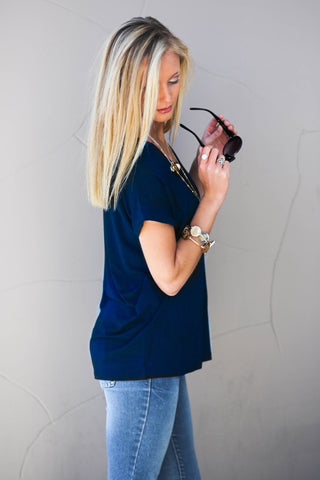 Piko Cap Sleeve in Navy (Crew Neck)