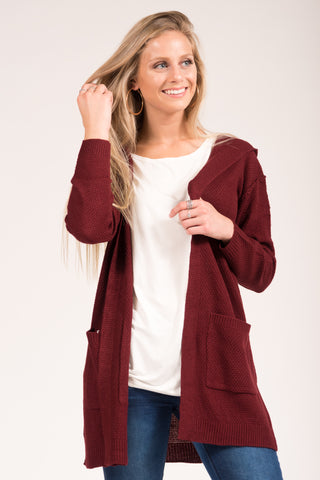 Cozy by the Fire Cardigan in Wine