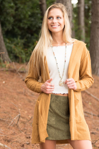 Cozy by the Fire Cardigan in Goldenrod