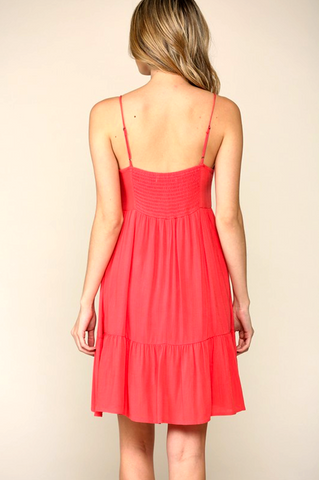 Sweet Chariot Dress in Coral