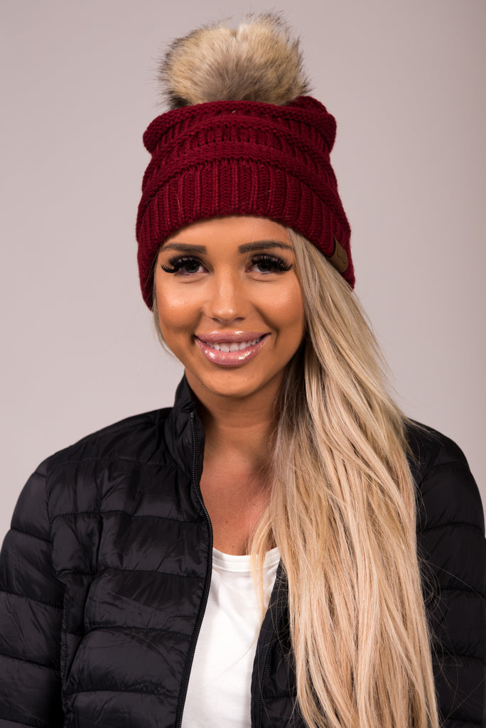 Fur Pom CC Beanie in Burgundy