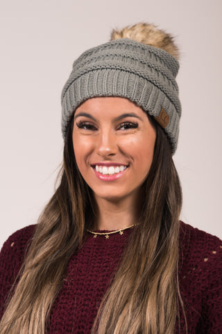 Fur Pom CC Beanie in Natural Grey
