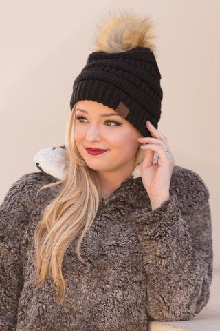 Fur Pom CC Beanie in Black