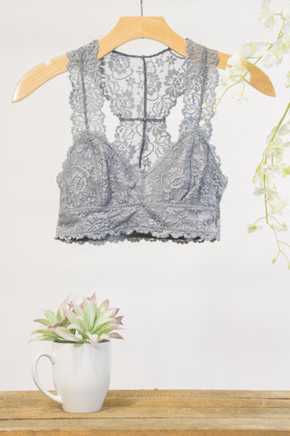 Lace Elegance Bralette in Light Grey