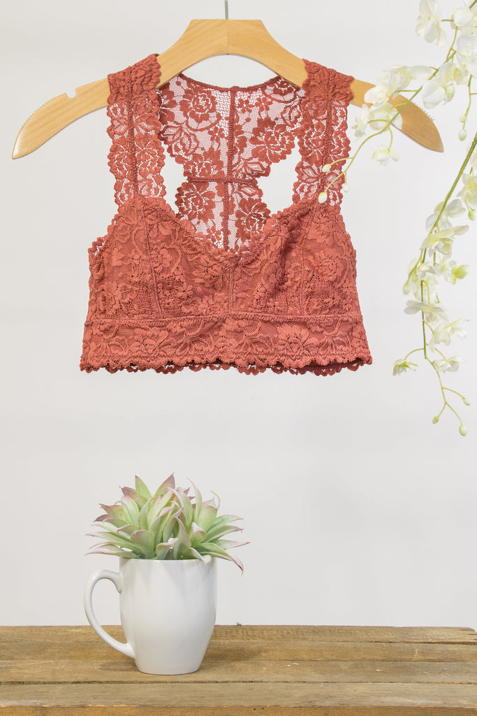 Lace Elegance Bralette in Dark Peach