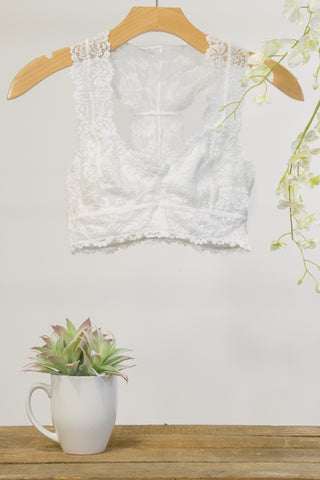 Lace Elegance Bralette in White