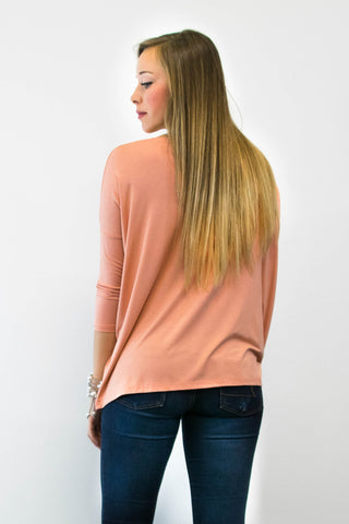 Piko Perfect 3/4 Sleeve Top in Nude