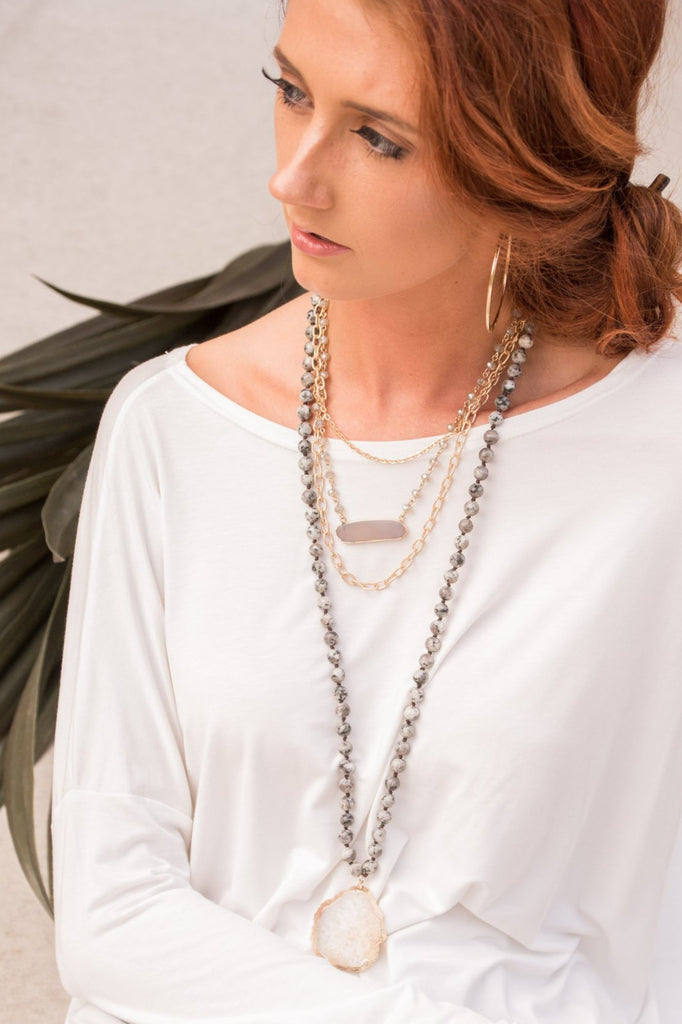 Katherine Necklace in Black Marble