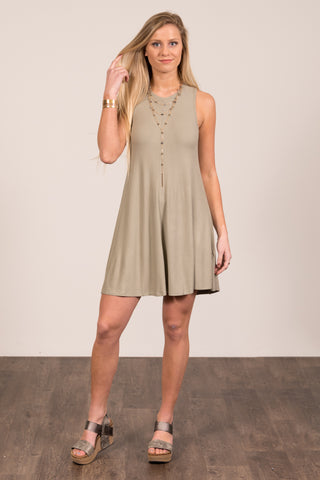 Meant to Be Swing Dress in Smoke Green
