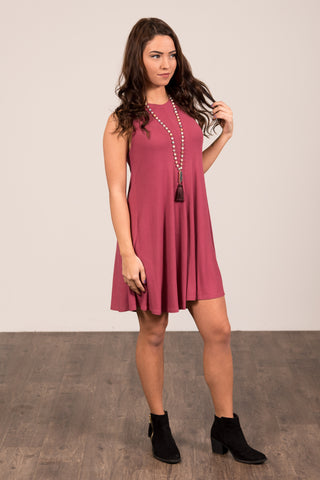 Meant to Be Swing Dress in Red Garnet