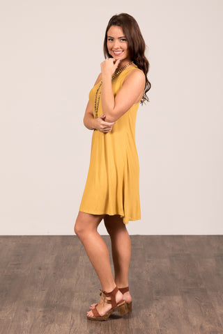 Meant to Be Swing Dress in Mustard