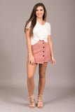 Cute as a Button Skirt in Blush