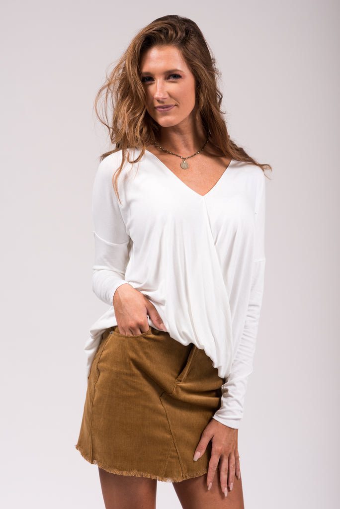 Classic Corduroy Skirt in Camel