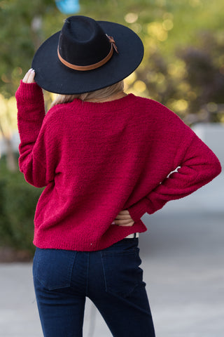 Take You Dancing Sweater in Maroon