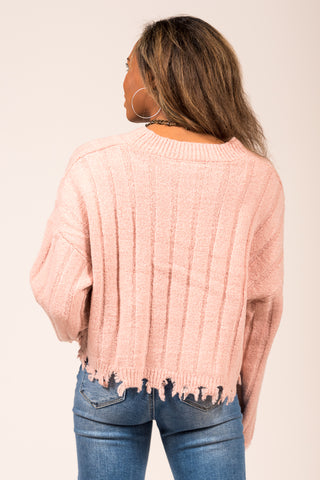 All the Right Reasons Sweater in Misty Rose