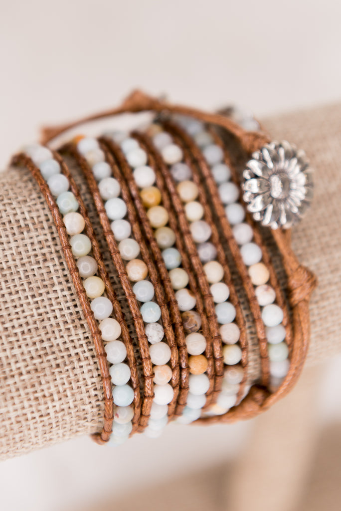Beth Wrap Bracelet in Amazonite