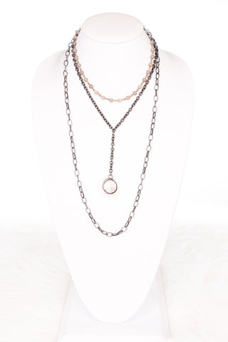 Judy Necklace in Hematite/Crystal