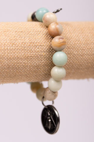 Megan Bracelet in Hematite Amazonite