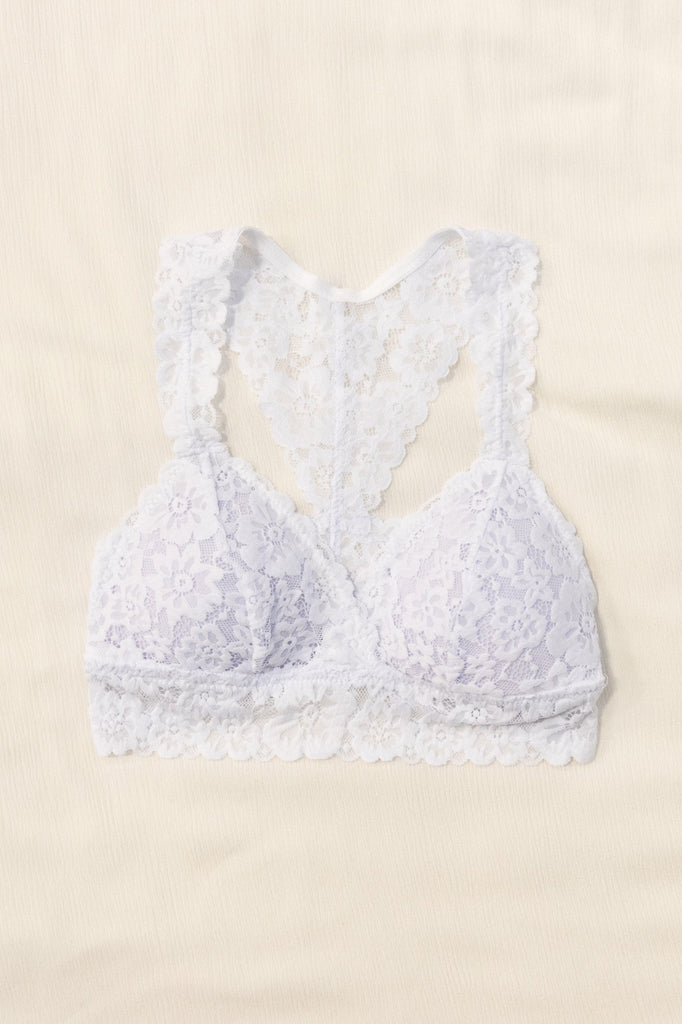 Flower Power Lace Bralette in White