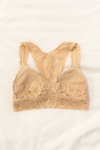 Flower Power Lace Bralette in Nude