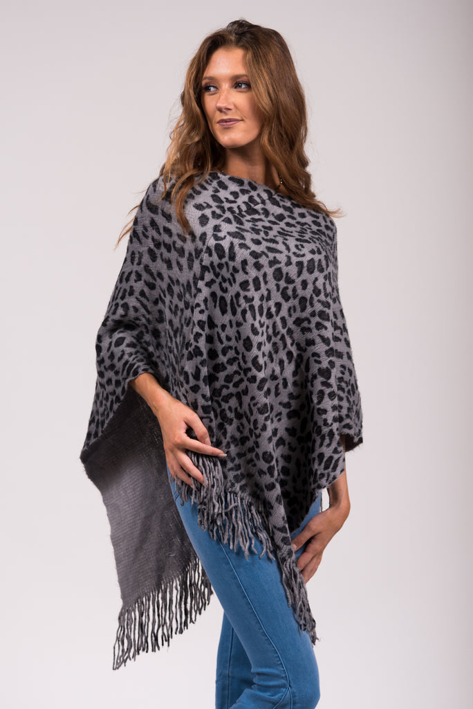 Into The Jungle Poncho in Grey