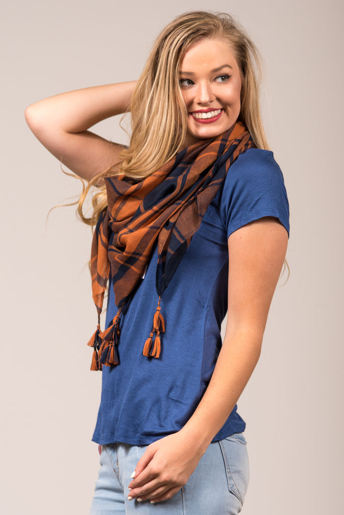 Game Day Scarf in Navy & Orange